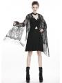 Black Gothic Lace Tassel Kimono Cape for Women