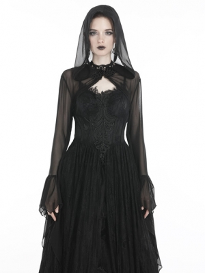 Black Gothic Witch Mesh Hooded Cape for Women