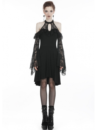 Black Elegant Gothic Lace Knitted Off-the-Shoulder Midi Dress