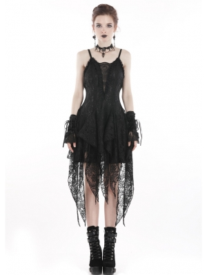 Black Sexy Gothic Lace Tassel Cocktail Party Dress