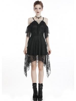 Black Elegant Gothic Lace Off-the-Shoulder Short Dress