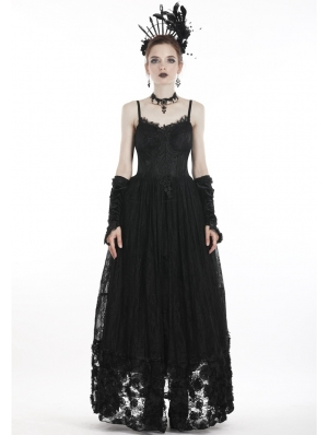 Black Vintage Gothic Spaghetti Strap Lace Maxi Dress