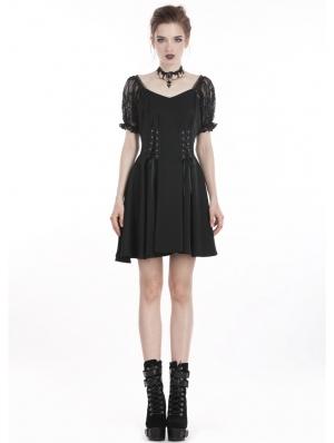 Black Gothic Lolita Style Chiffon Short Dress
