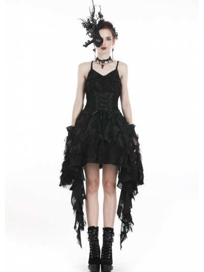 Black Gothic Spaghetti Strap Feather Lace Cocktail Party Dress