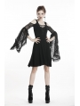 Black Elegant Gothic Lace Off-the-Shoulder Midi Dress
