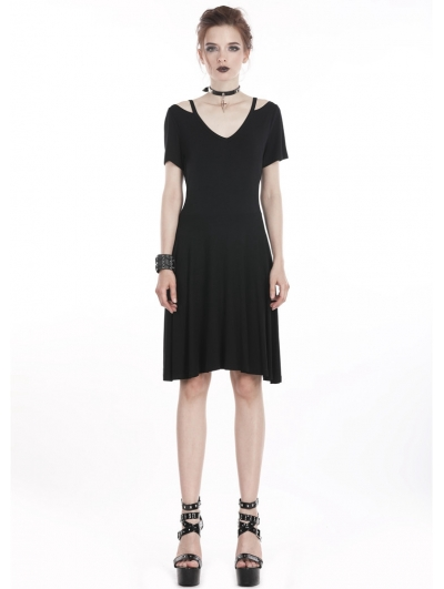 Black Gothic Punk Mid-Length Dress