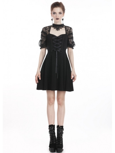 Black Sweet Gothic Lace Short Dress with Choker