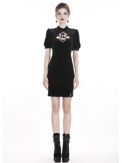 Black Vintage Gothic Velvet Slim Mini Dress
