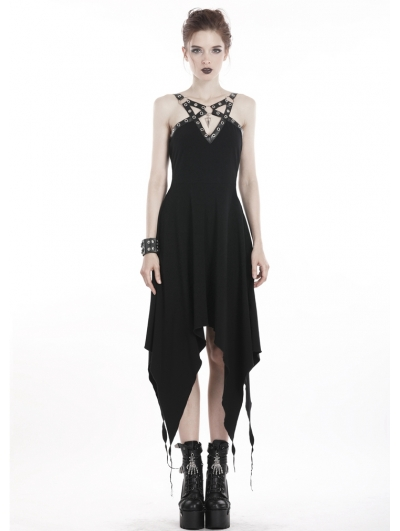 Black Gothic Punk Metal Asymmetrical Long Dress