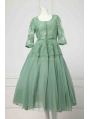 Green Embroidered French Lace 1950 Vintage Party Dress