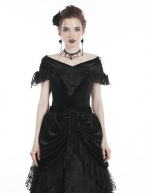 Black Vintage Gothic Velvet Short Sleeves T-Shirt for Women