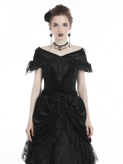 Black Vintage Gothic Velvet Short Sleeves T-Shirt for Women