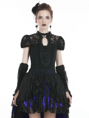 Black Sweet Gothic Lace Short Sleeves T-Shirt for Women