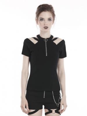 Black Gothic Punk Zipper Short Sleeve T-Shirt for Women