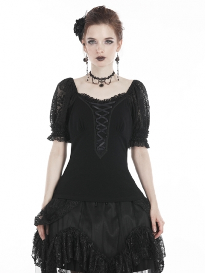 Black Sweet Gothic Lace Bubble Sleeves T-Shirt for Women