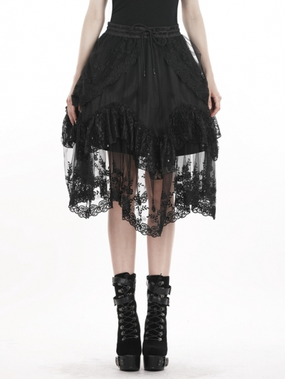 Black Gothic Lolita Lace Short Skirt