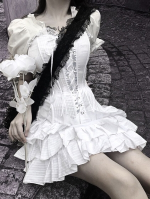White Gothic Short Sleeve Mini Dress