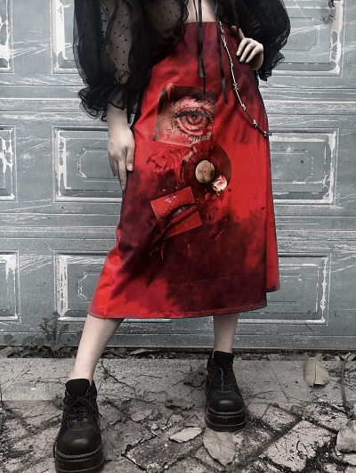 Red Gothic Bloody Eye Halloween Style Skirt