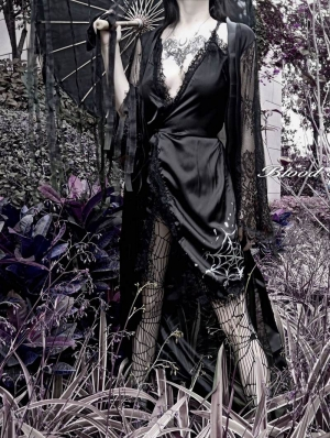 Black Sexy Gothic Lace Cobweb Pattern Two Piece Dress