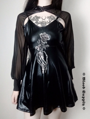 Black Gothic Dark Rose PU Short Dress