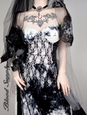 Black and White Gothic Lace Halloween Style Dress