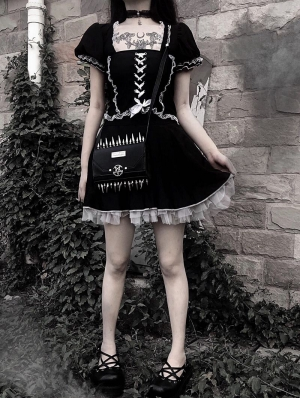 Black Gothic Lolita Mini Dress