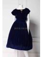 Blue Velvet Short Sleeves 1950s Vintage Dress