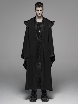 Black Retro Gothic Chinese Long Gown Jacket for Men