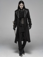 Black Vintage Stripe Gothic Gentleman Steampunk Long Coat for Men