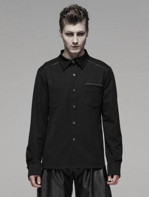 Black Gothic Punk Metal Zipper Shirt for Men