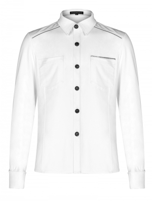 White Gothic Punk Metal Zipper Shirt for Men