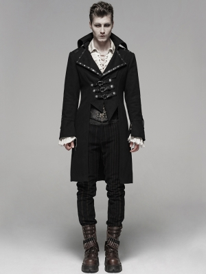 Black Gothic Steampunk Masquerade Long Coat for Men