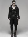 Black Gothic Steampunk Masquerade Long Coat for Men