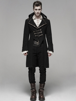 Coffee Gothic Steampunk Masquerade Long Coat for Men