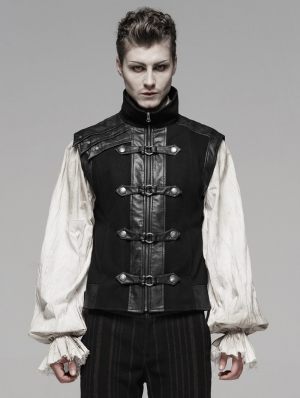 Black Retro Gothic Steampunk Vest for Men