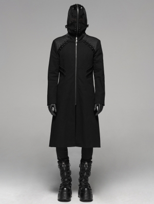 Black Gothic Punk Weird Mask Long Hooded Coat for Men