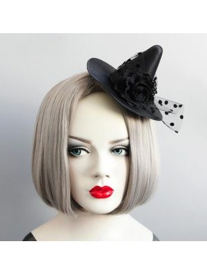 Black Gothic Halloween Witch Hat Headdress