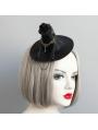 Black Gothic Halloween Witch Flower Chain Hat Headdress