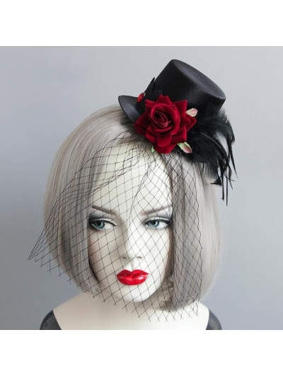 Gothic Party Red Flower Feather Hat Headdress
