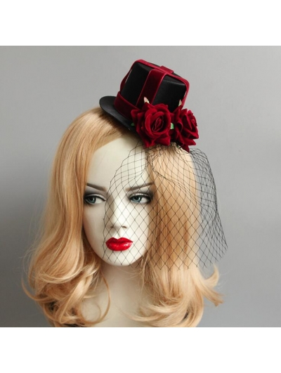 Gothic Party Red Flower Net Hat Headdress