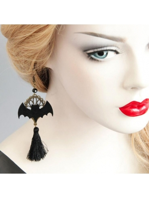 Black Retro Gothic Bat Tassel Earrings