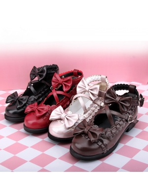 Black/Pink/Red/Brown Sweet Lolita Bow Shoes