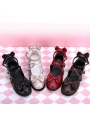 Black/Pink/Red/Brown Sweet Lolita Bow Cross Belt Shoes
