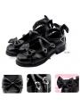 Black/Pink/Red/Brown Sweet Lolita Bow Cross Belt Shoes