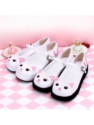 Black/White Sweet Lolita Cat Pattern Shoes