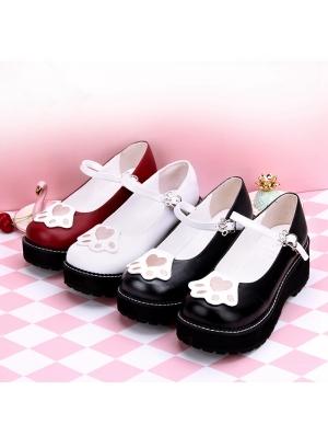 Black/White/Red Sweet Lolita Cat Paws Pattern Shoes