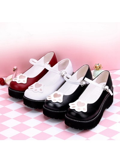 Black/White/Red Sweet Lolita Cat Paws Pattern Shoes