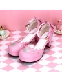 Black/White/Pink/Red Sweet Lolita Hollow-out Heart High Heel Shoes