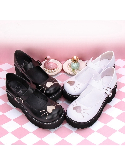 Black/White Sweet Lolita Heart Cat Pattern Shoes
