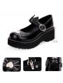 Black/White Sweet Lolita Heart Cat Pattern Shoes